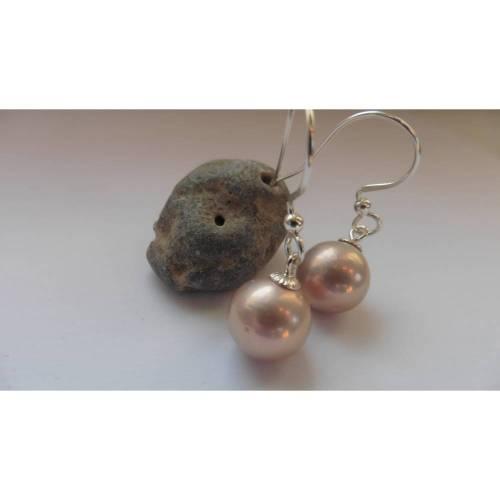 Runde Perlen-Ohrringe rosa metallic, Hochzeits-Brautschmuck, echte Edison Perlen