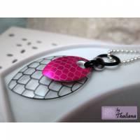 knallige Halskette DRACHENSCHUPPE Kette pink  Bild 1