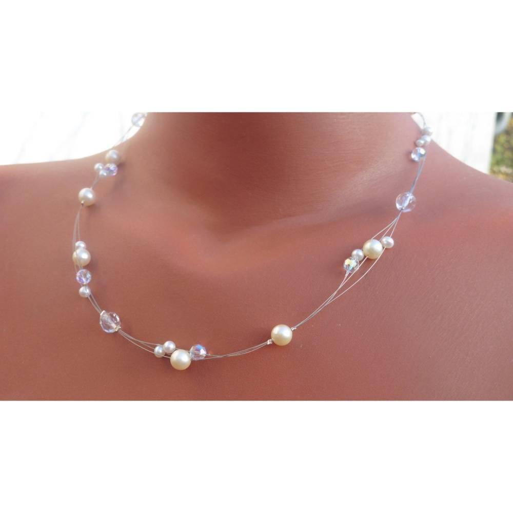 4-teiliger Hochzeitsschmuck mit echten(!) Süßwasser-Perlen, Sterling-Silber und Kristallkugeln Bild 1