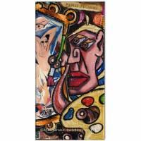 Original Acryl und Collage: Picasso paints Les Demoiselle /15x30 cm Bild 1