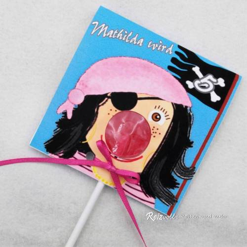 Kindergeburtstag Geburtstag Lolli-Einladung Piratin mit Kopftuch
