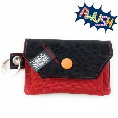 Mini - Geldbörse, Gelbeutel, Schwarz Rot mit Schlüsselring