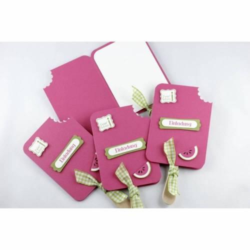Einladungskarten - Eiskarten - Melone - 4er Set