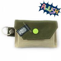 Mini - Geldbörse, Gelbeutel, Olive Beige mit Schlüsselring Bild 1