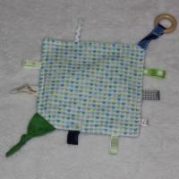 Knistertuch & Beißring - kleine Herzen (Blau / Grün) Bild 1