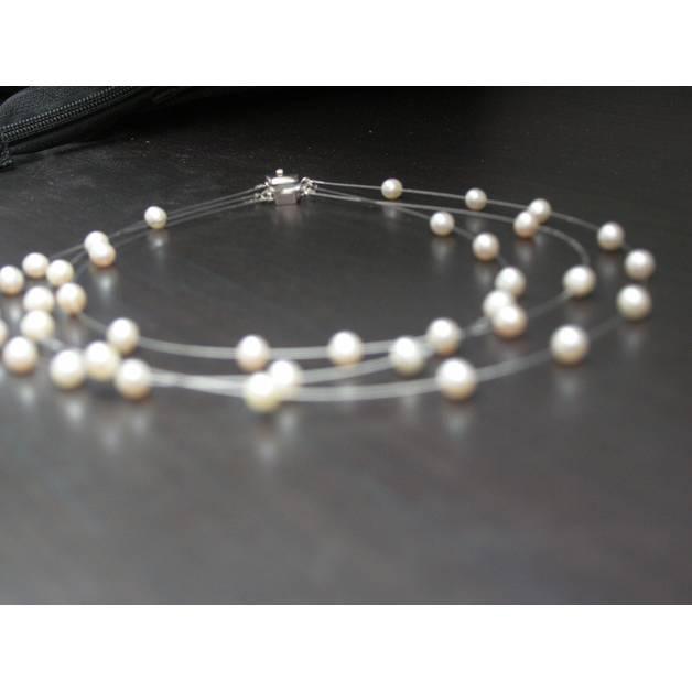 Zartes Braut-Schmuckset 3-teilig, echte schwebende Perlen, 3-reihige Kette, Armband, Ohrstecker Sterling Silber 925 Bild 1