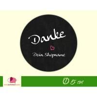 "DIY - Aufkleber | ""Danke"" pinkes Herz -  personalisierbar mit Shopname - Handmade Etiketten"