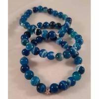 Filigranes Edelsteinarmband aus blauem Achat 8mm und 925er Silberteilchen, Perlenarmband, Edelstein