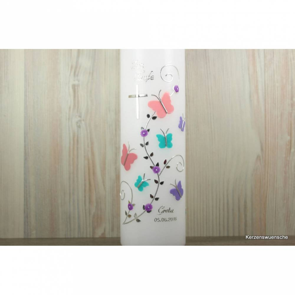 Taufkerze Schmetterlinge, flieder türkis rosa Bild 1