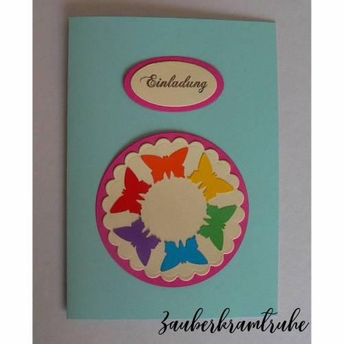 Bastelset Einladung Kommunion Regenbogen Schmetterlinge -  DIY Karten auch für Taufe und Kommunion
