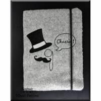 Notizbuch - CHEERIO - Tagebuch - Din A6 oder Din A7 - Monokel, Notizheft Hülle, hellgrau schwarz bestickt, Skizzenbuch Bild 1