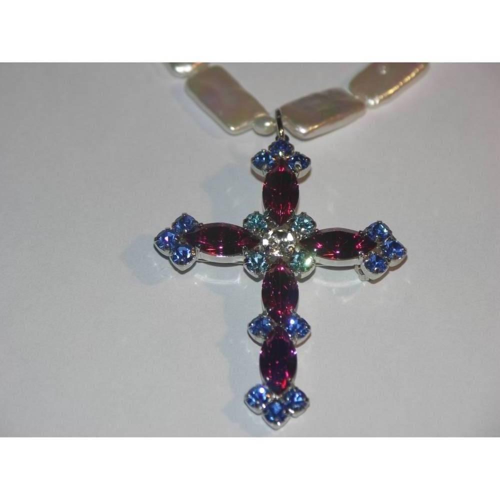Konfirmation- Kreuz-Kette mit echten Perlen, Kreuz-Anhänger, Frauen-Geschenk  Bild 1