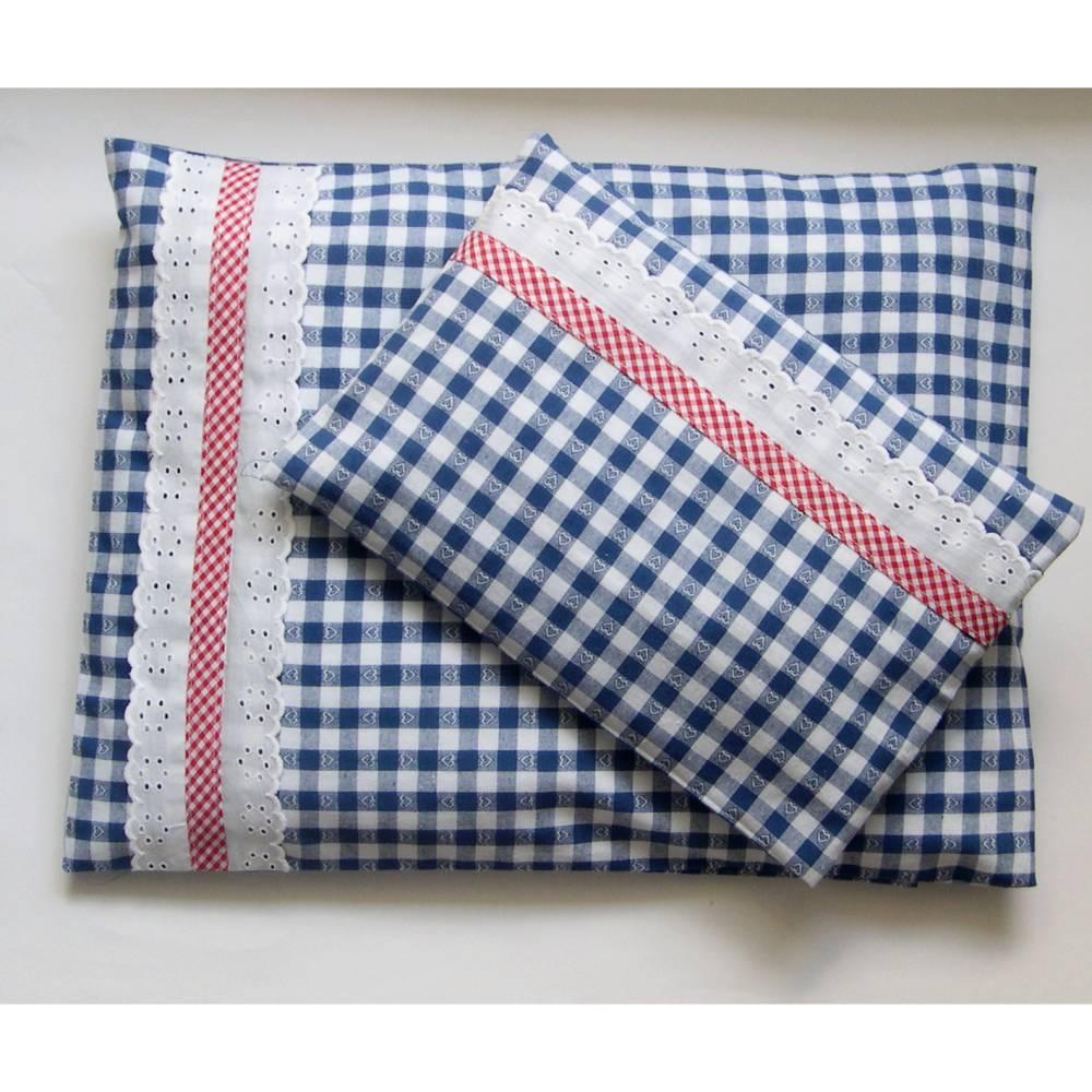 Puppenbettwäsche 2-teilig Karo mit Spitz, Wunschgröße,  für Puppenwagen, Bettwäsche, Bettwäsche Puppenwagen, Kissenbezüge, Puppenbett, rot, blau Bild 1