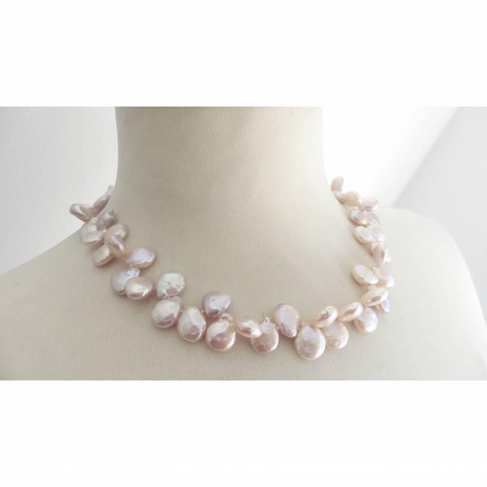 Zartrosa Perlenkette aus buschigen Keshiperlen, bester Glanz Bild 1