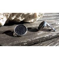 Ohrklipse 12 mm aus Rochenleder, business style silber Bild 1