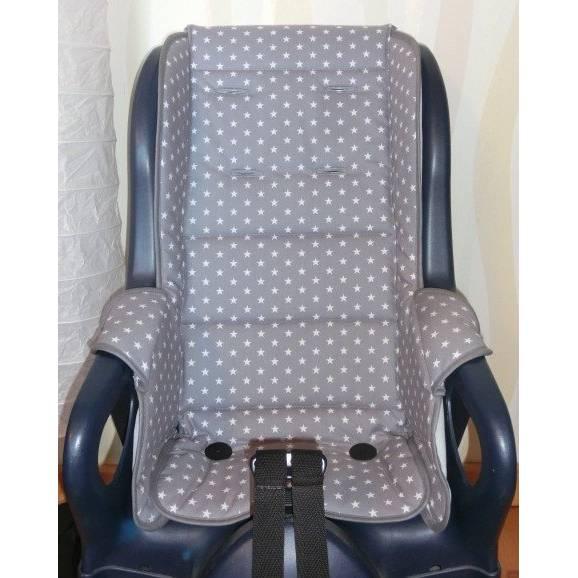 ERSATZBEZUG Auflage Polster für Fahrradsitz Jockey Relax Sterne grau Fahrradsitzbezug aus Baumwolle Bild 1