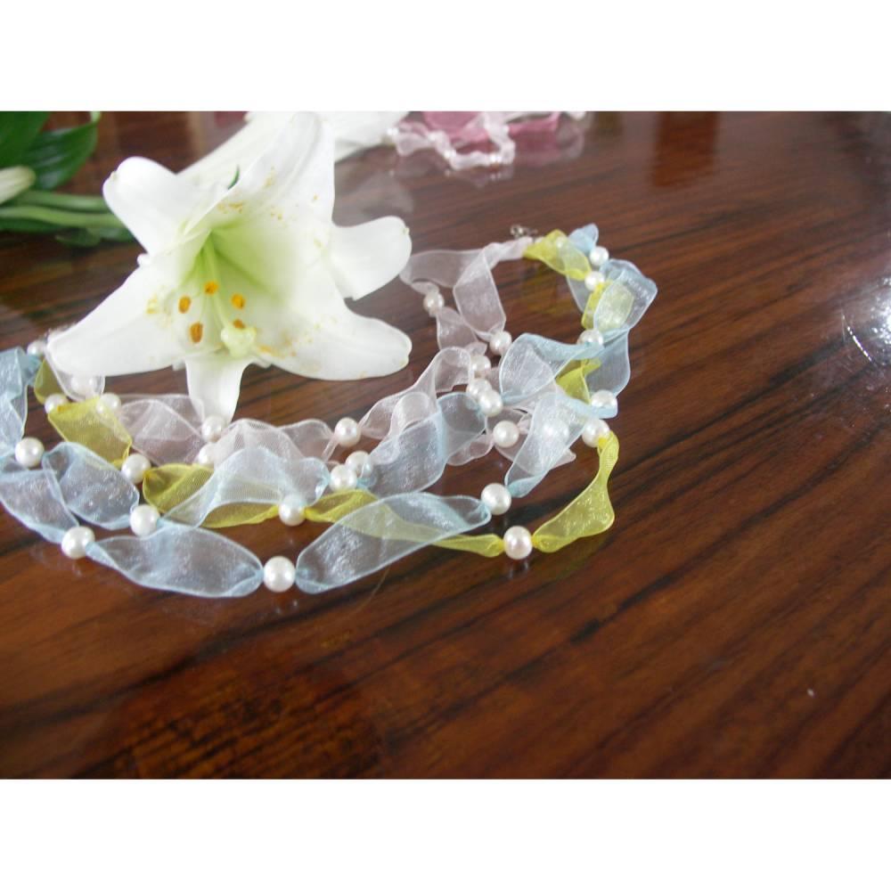 Seidenband mit echten Perlen romantischer Hochzeitsschmuck Bild 1