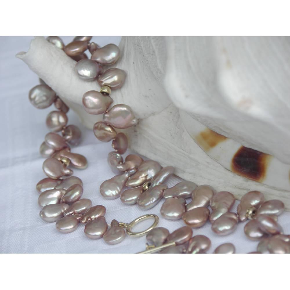 Perlenkette echte Süsswasserperlen festliches Collier gold 14 K Tropfen Abendkette Goldene Hochzeit Brautmutter Silberhochzeit Geschenk Bild 1