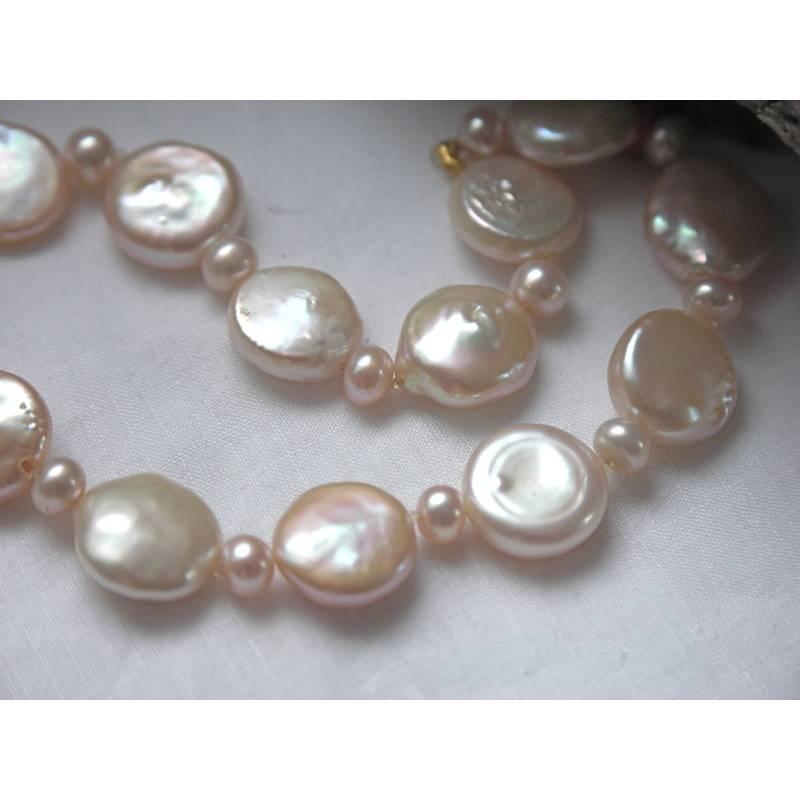 Perlenarmband Brautarmband Hochzeitsschmuck echte Perlen flache Münzperlen lachs rosa Magnetschloß Sterling Bild 1