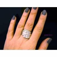 Poetry-Ring (925 Silber)  breiter Bandring / Wickelring  mit (Ihrem) Zitat, Gedicht oder Ehespruch Bild 1