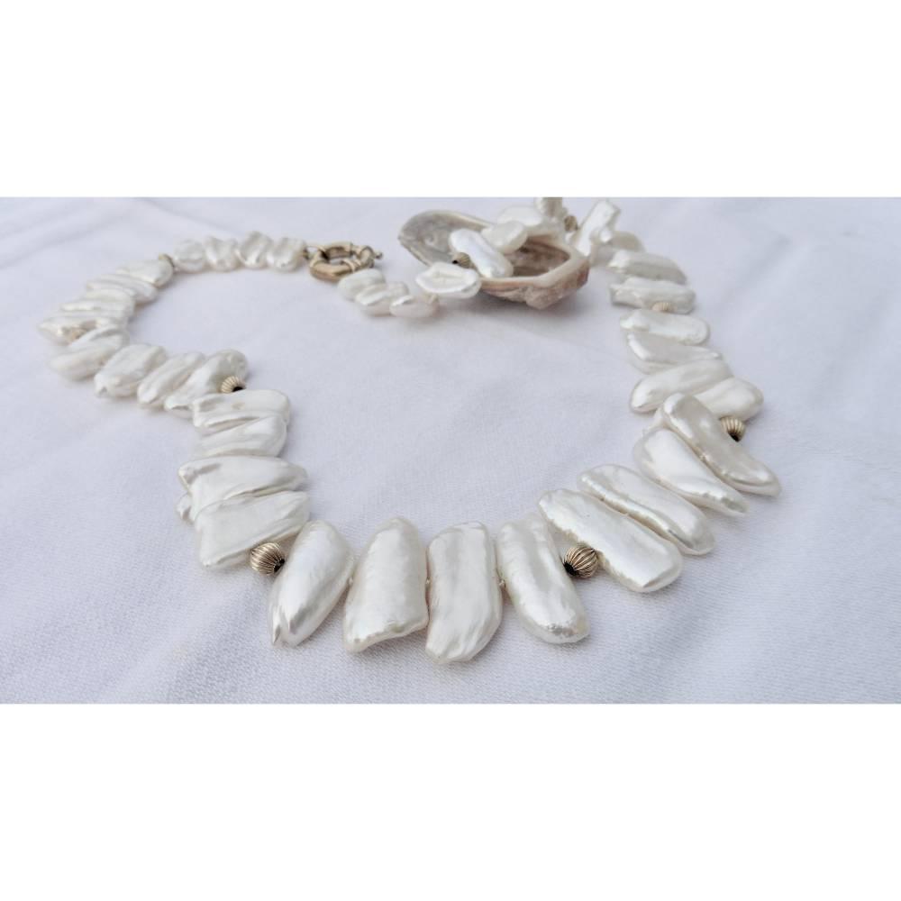 Perlenkette mit 14 K Gold beste Keshiperlen Hochzeitsschmuck Geschenk für Frauen Bild 1