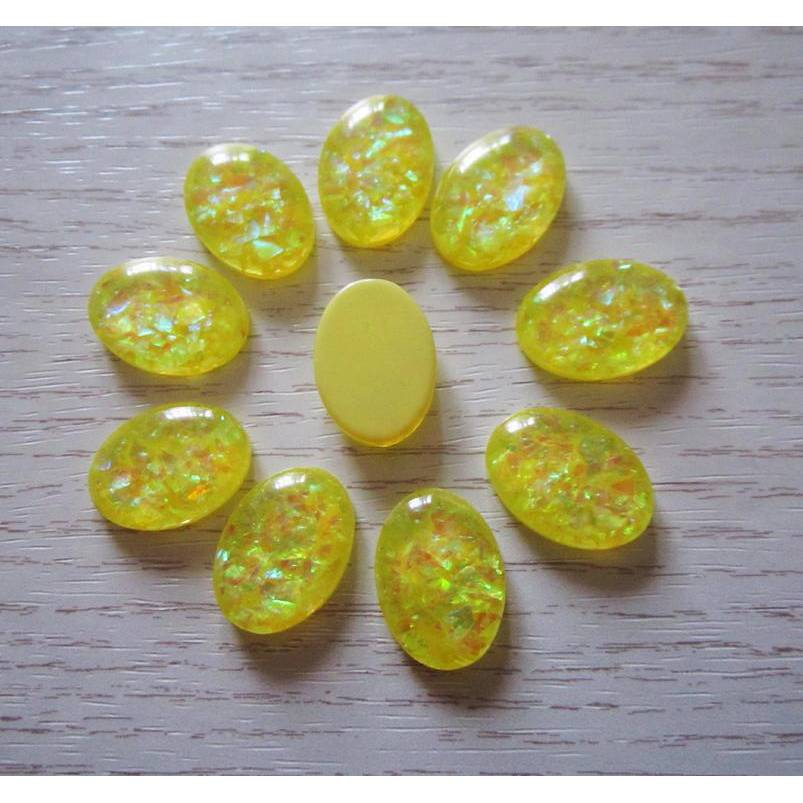4x Resin Cabochons 18 mm x 13 mm,foliert Bild 1