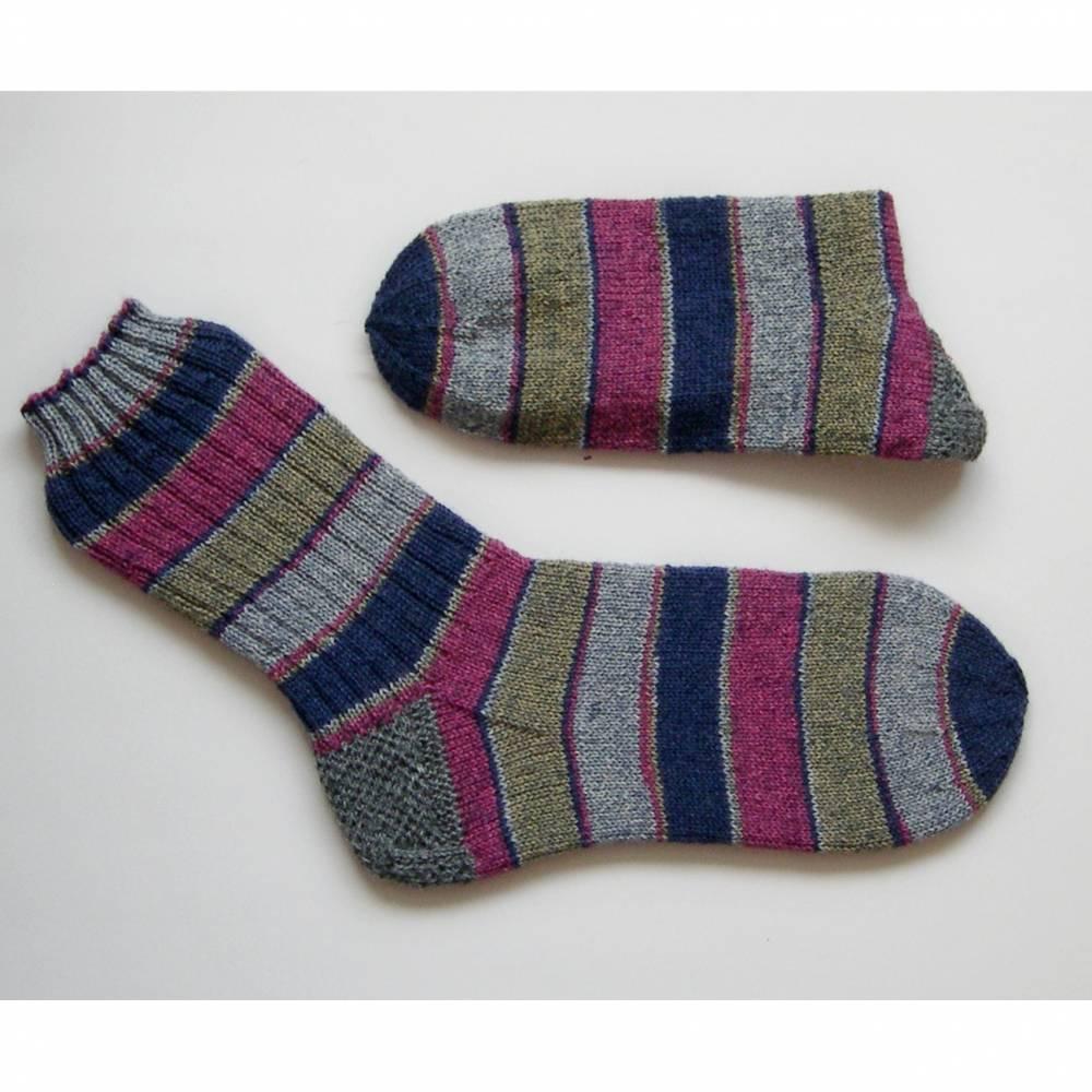 Herrensocken Männersocken, Einzelpaar, 44/45, breite Streifen, bunte Mulitcolor Männer-Socken, handgestrickte Socken Männer, Wollsocken Männer, Socken,  Bild 1