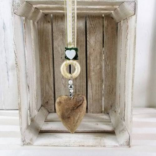 Fensterdeko, Hänger, Holz-Herz, beige mit Deko-Ring, Türdeko