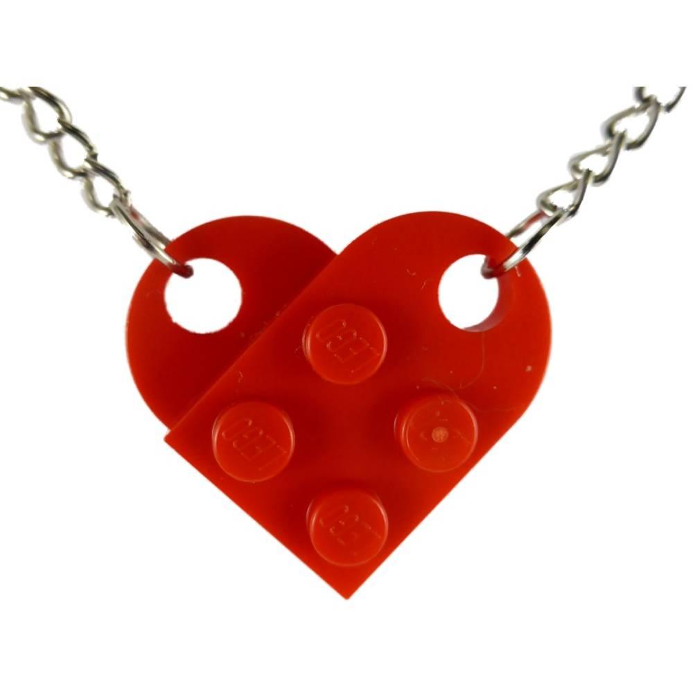 Kette Halskette rot / silber Gothic Herz mit originalen LEGO Steinen Upcycling Kunststoff K1668 Bild 1