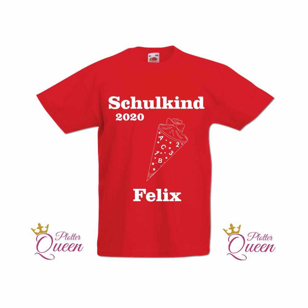 T-Shirt zur Einschulung mit Schultüte Schulkind erstklassig mit Name Bild 1