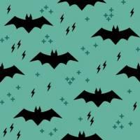 Baumwolldruck Bats schwarz auf graugrün Fledermaus für Stoffmasken für Jungs-Mädchen- Frauen und Männer  Bild 1