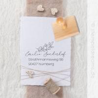 Adressstempel – filigrane Blätter – personalisierter Holzstempel – Motiv: 471 Bild 1