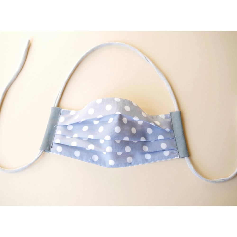 Alltagsmaske, Mund- Nase- Maske, grau mit weißen Punkten aus Baumwolle mit Gummiband Bild 1