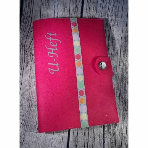 U-Heft-Hülle / U-Hefthülle mit Fach für den Impfpass aus Filz in pink