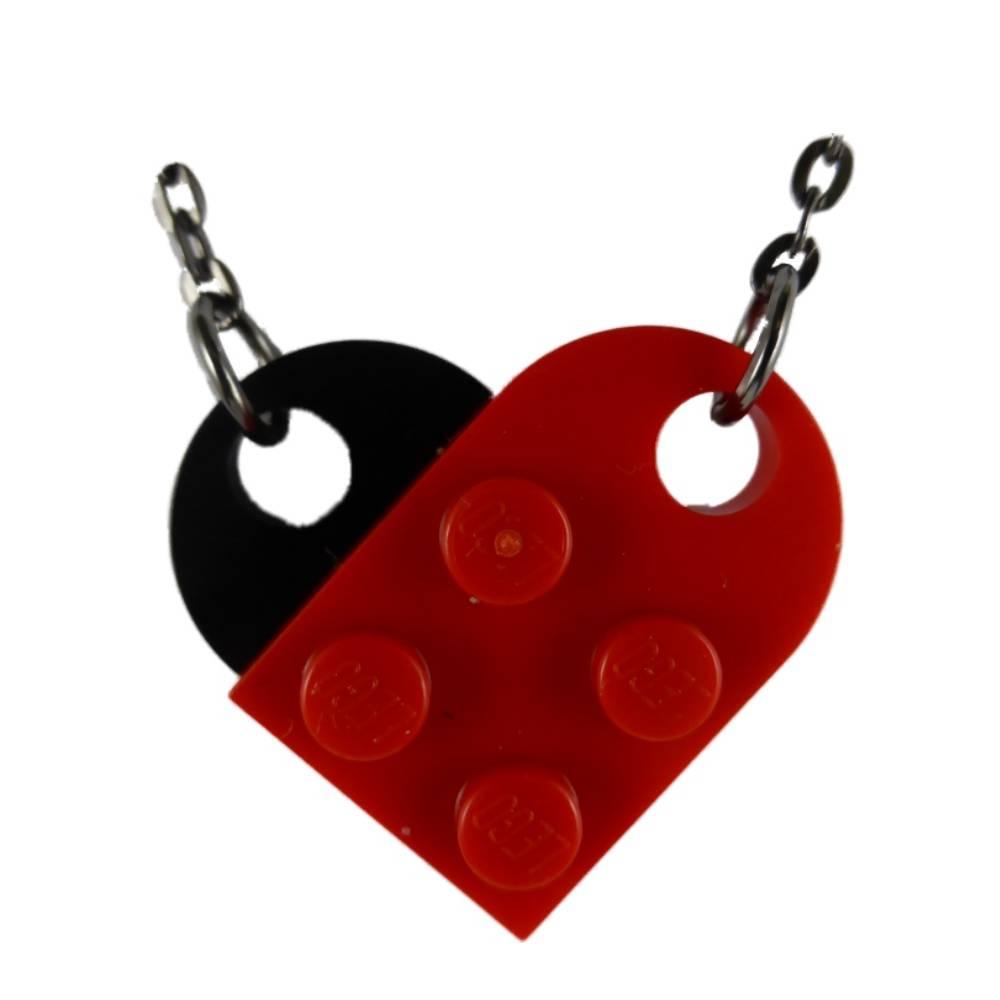 Kette Halskette rot / silber Gothic Herz mit originalen LEGO Steinen Upcycling Kunststoff K1669 Bild 1
