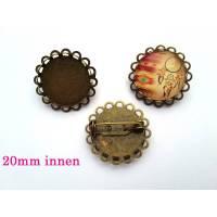1 x Brosche Rohling bronze für 20mm Cabochon Bild 1