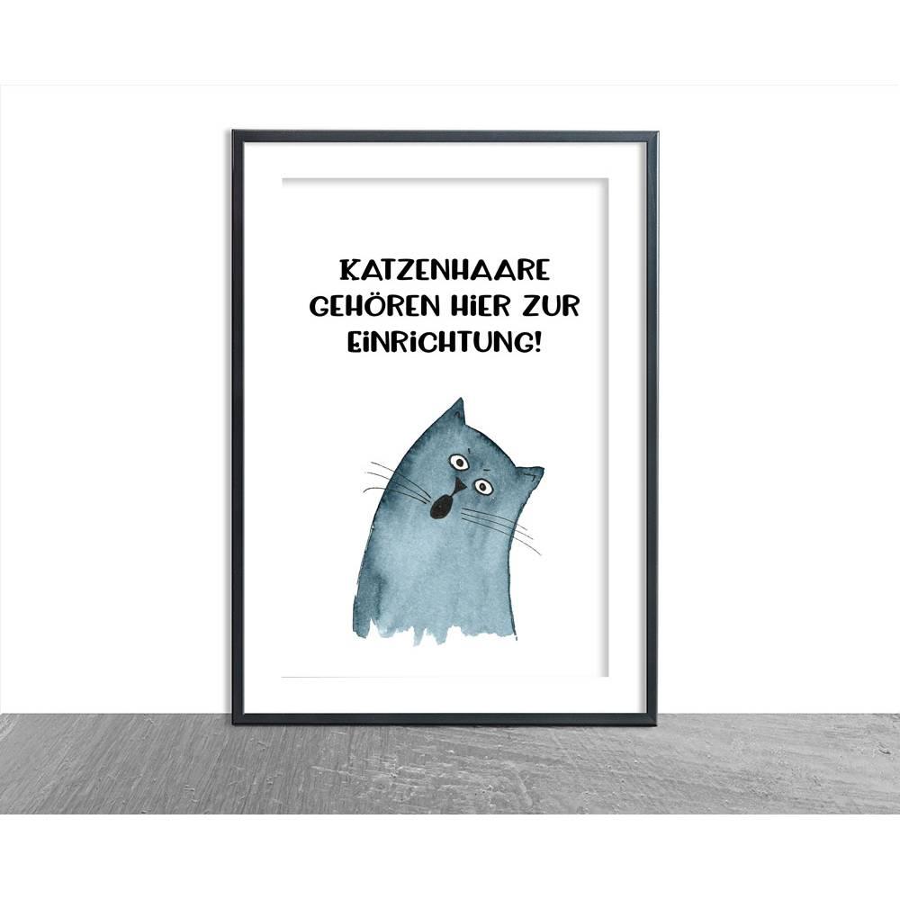 Katzen-Poster, Katzenhaare Spruch Bild 1