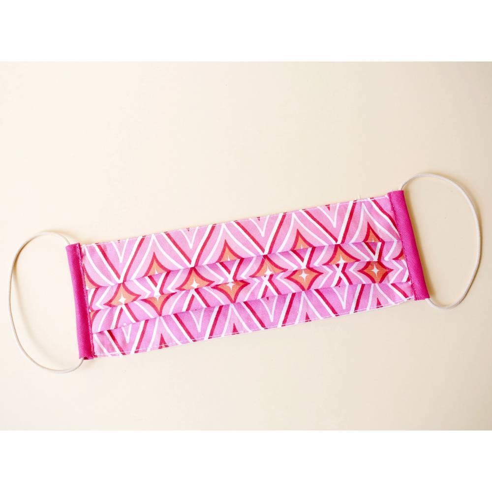 Alltagsmaske, Mundbedeckung, Mund-Nasen-Maske, pink gemustert aus Baumwolle mit Gummiband Bild 1