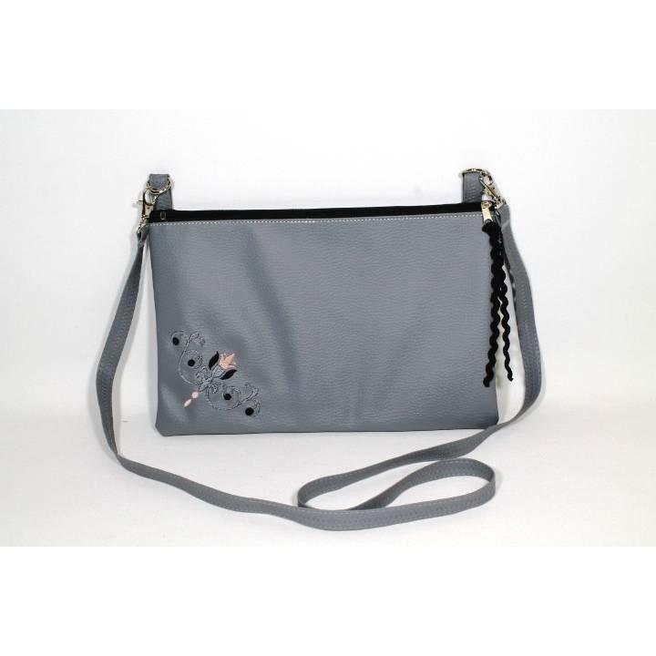 Tasche PEC in grau mit Stickerei und Reißverschluss Bild 1