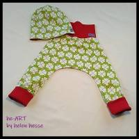 """2-teiliges Babyset """"Klee"""" Doppelgröße 74/80, genäht aus Jersey in grün-weiß-rot, von he-ART by helen hesse Bild 1"""
