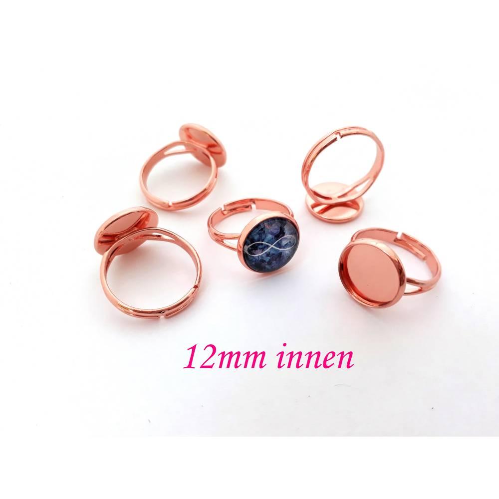 Ring Rohling für Cabochon 12mm, Rosegold Bild 1