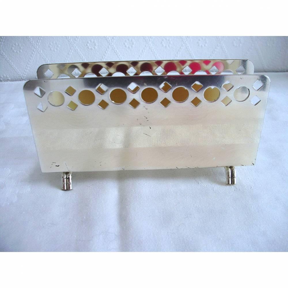 Vintage Serviettenhalter aus Metall mit Loch-Stanzmuster aus den 70er Jahren Bild 1