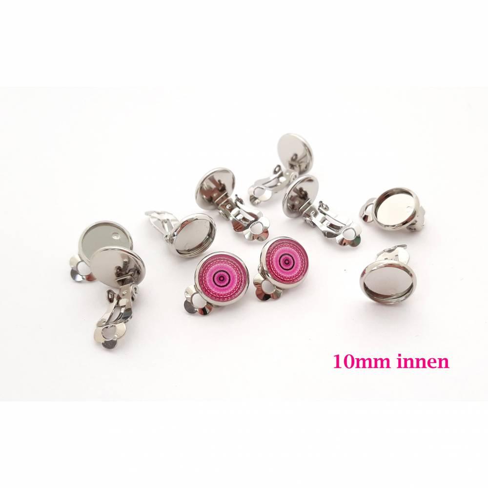 10 x Ohrclips Platinfarben für 10mm Cabochon Clipse Ohrclipse Ohrring ohne Loch kein Ohrloch (CL1) Bild 1