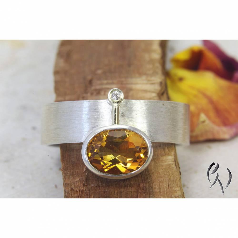 Ring Silber 925/- mit Citrin und Brillant Bild 1