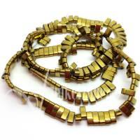 HÄMATIT   Half - Tila Beads   Zweilochperlen   2,1 x 5 mm   goldfarbig   1 Strang   ~ 180 Stück   Naturstein   Mineralien   #870774 Bild 1