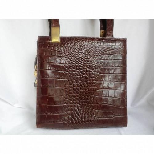 Lederhandtasche - braun - aus Italien - 80er Jahre  - von alte Schätze
