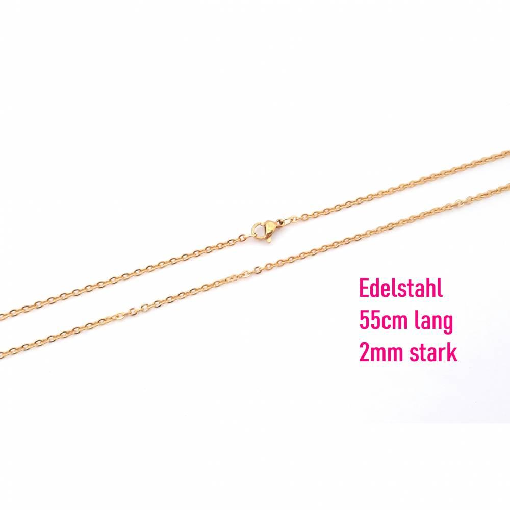 Fertige Gliederkette Edelstahl goldfarben 55cm lang, 2mm starke Glieder inkl. Karabinerverschluss Halskette, Goldkette, Edelstahlkette Bild 1