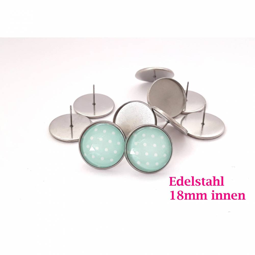 10 x Ohrstecker Edelstahl für 18mm Cabochon Ohrsteckerfassung Ohrsteckerrohling Ohrstecker silberfarben (OS32) Bild 1