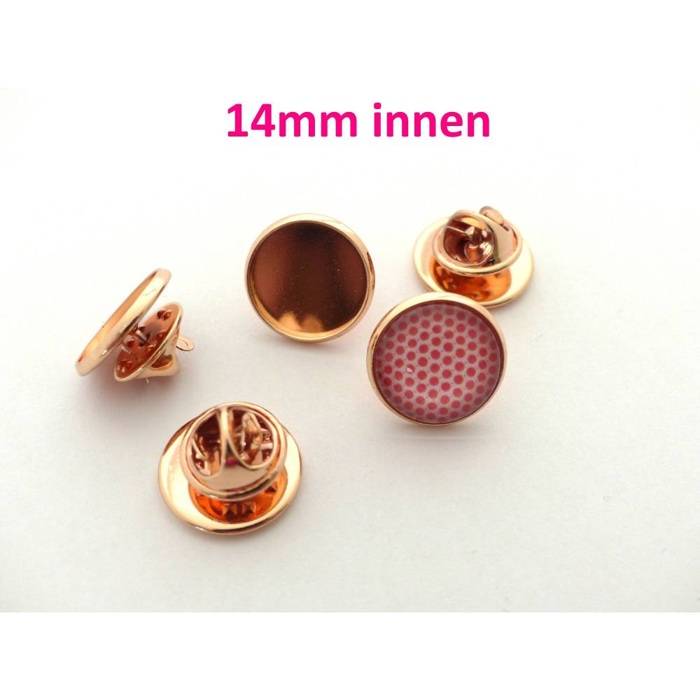 10 Stück Anstecknadel / Pin für Cabochon 14mm rose Bild 1