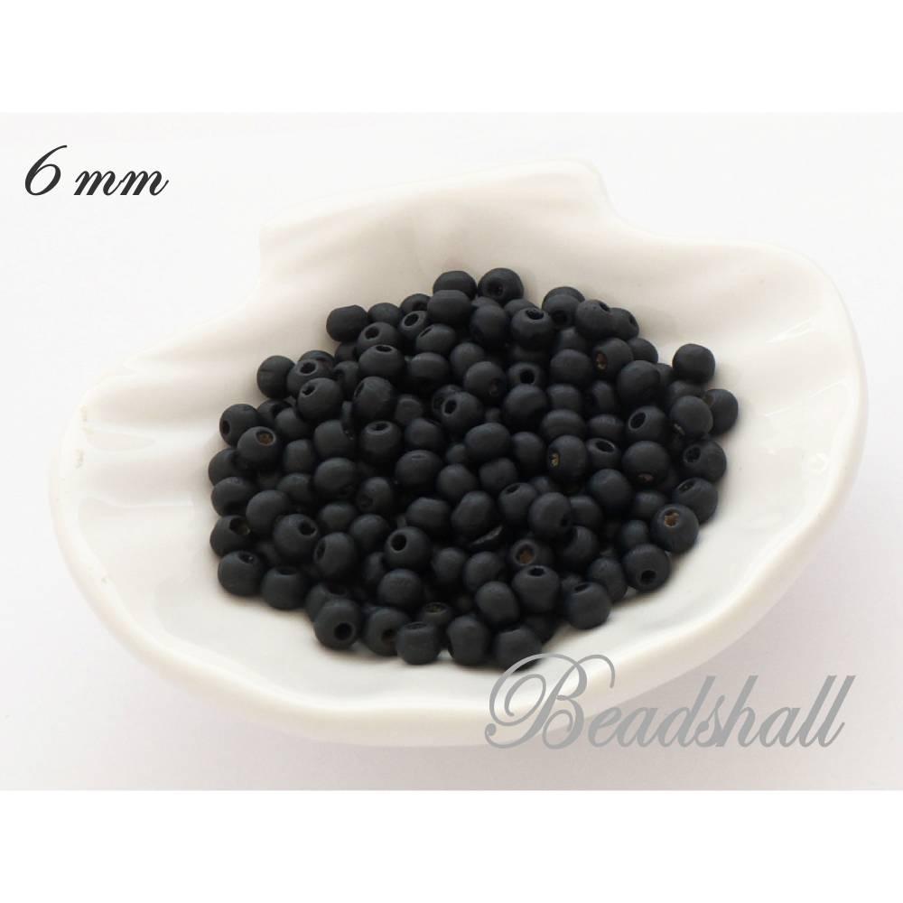 50 Holzperlen 6 mm Perlen gefärbt Farbe Schwarzblau Naturperlen Holz Bild 1